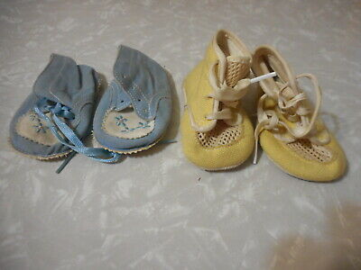 Lot of 2 Vintage Baby Shoes Yellow Blue with embroidery