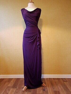 PHASE EIGHT Purple Grecian Maxi Dress Size 10 Evening long party