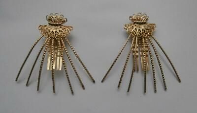 BN Vintage 1930's Pair of Gold Metal Decorative Hair Combs Ornaments Deadstock