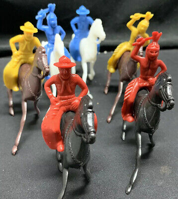Shaland, Vintage 1960's  Cowboys And Indians Toy Figures, 20 Per Order.NOS.
