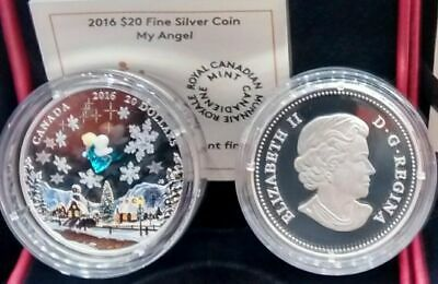 Venetian Glass Angel $20 2016 1OZ Pure Silver Proof Murano Glass Canada Coin