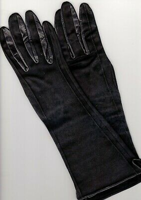 CORNELIA JAMES Vintage Ladies Size 6 Black Cotton Gloves with Leather Trimmings