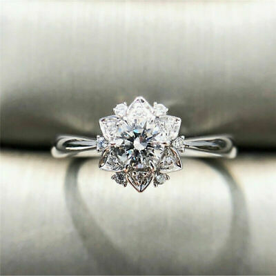 White Jewelry Engagement Party Silver 925 6-10 Flower Topaz Ring Size Wedding