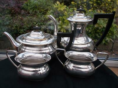 English Sheffield Made Viners Silver Plated 4 Piece Tea & Coffee Set Slight Wear