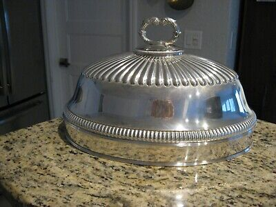 Large Antique English Old Sheffield Plate Meat / Turkey Domed Cover c.1842