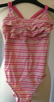 Girls Pink Stripe Swimming Costume In Age 8 Years Old