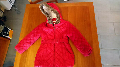 girls M&S padded coat with hood and belt age 6-7y