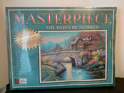 Vintage 1998 Masterpiece Oil Paint By Number 13203 Stone Bridge New Sealed