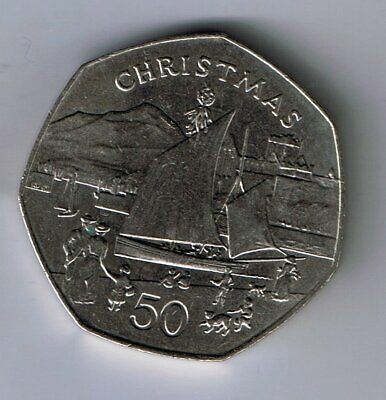 1981 Isle of Man 50p Fifty Pence coin : Christmas