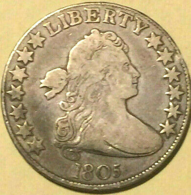 1805 Draped Bust Early Silver Half Dollar 50 Cent US Type Coin 5 Berries