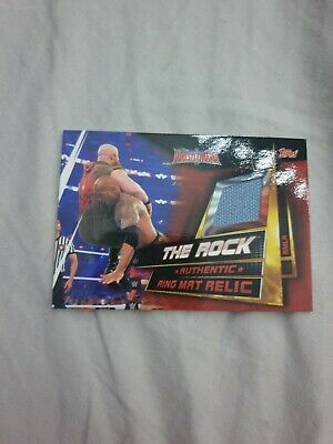 Topps WWE Slam Attax Universe The Rock Ring Mat Canvas Relic 2019 Memorabilia
