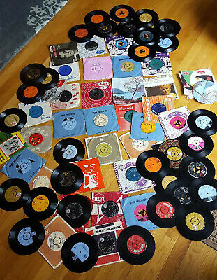Lot of 65 vintage 45 RPM records US Ireland UK 1950s - '70s