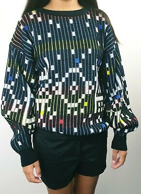 PLAYBACK M/L Unisex Vintage Retro Multicoloured Cosby Coogi Style Knit Sweater