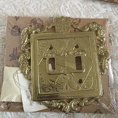 BRASS ORNAMENTAL DOUBLE SWITCH PLATE VM24-18 VIRGINIA METALCRAFTERS New Sealed