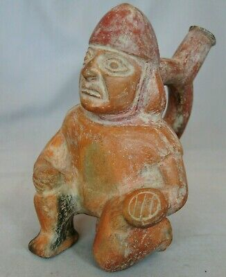Ancient Pre-Columbian Peru Moche Warrior Pot