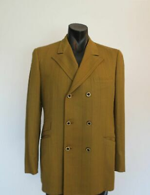 Pin Striped Mustard Double Breasted Mod Jacket - 1960s