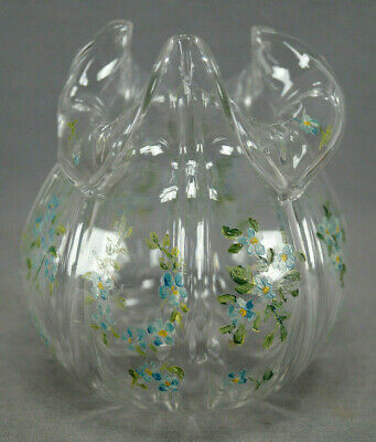 Late 19th Century Bohemian Hand Enameled Blue Forget Me Nots Glass Vase