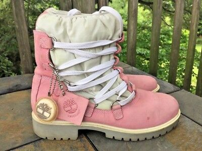 TIMBERLAND Pretty in Pink Teddy Fleece Sock Chukka Boots Shoes Womens Sz 9 👞2