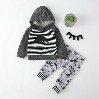 Toddler Kids Baby Boys Girls Cartoon Hooded Striped Sweatshirt Pants Outfits Set