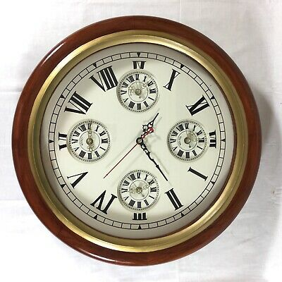 Mahogany Gilt Framed Four Time Zone Quartz Wall Clock 19""