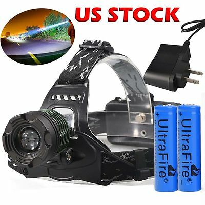 990000LM Zoomable T6 LED Headlamp Headlight Head Lamp Torch 3 Mode 18650+Charger