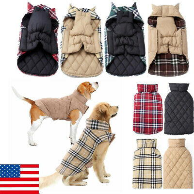 US Dog Winter Waterproof Warm Padded Jacket Coats Clothes For Medium / Large Pet