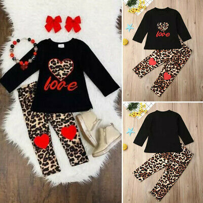 Toddler Infant Kids Baby Girl Outfits Leopard T-shirt Tops+Long Pant Clothes Set