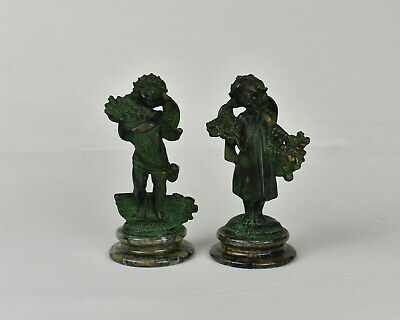 Vintage Pair of French Faux Bronze Cherub / Angel Figurines on Marble Bases