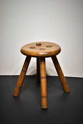 Antique Oak Wooden Milking Stool Round With Four Mortise Legs