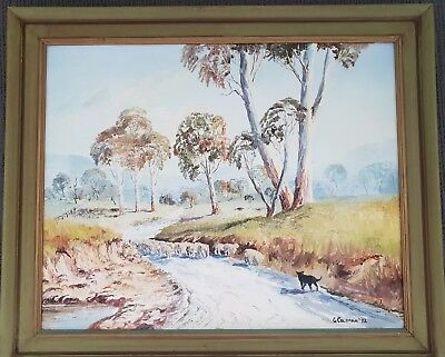 Original Vintage Oil Painting Australia Bush  Sheep Dog Sheepdog Signed Framed