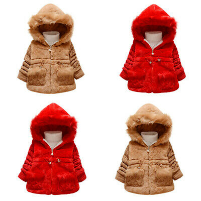 Toddler Kids Baby Girls Winter Jacket Warm Coat Thick Outwear Hooded Snowsuit