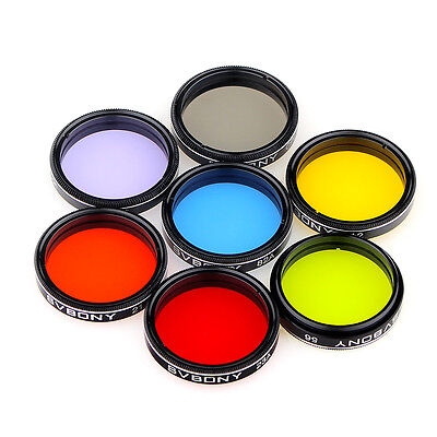 """1.25"""" Eyepieces Filter Set Colored Planetary + Moon Filters Kit for Telescope"""