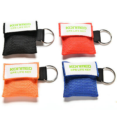 4 Colors Hot CPR Mask Keychain Emergency Face Shield First Aid Rescue Bag、 zc
