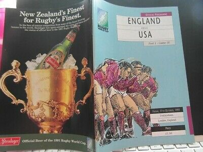 1991 World Cup England V Usa  Rugby Union Programme