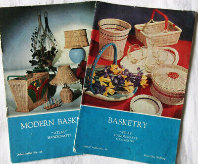 "Two Vintage (1950/60s) ""Atlas"" Handicraft Leaflets: Basketry & Modern Basketry"