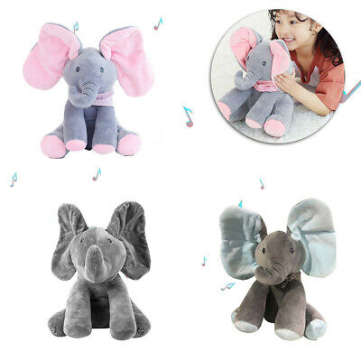 "12"" Peek-a-Boo Doll Animated Talking Singing Stuffed Plush Elephant Toy For Kid"