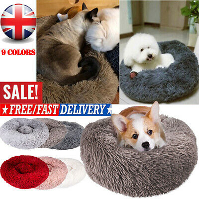 Comfy Calming Dog/Cat Bed Round Super Soft Plush Pet Bed Marshmallow Cat Bed UK#