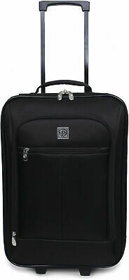 """Carry On Luggage Suitcase 18"""" Cabin Bag Small Lightweight Rolling Baggage Black"""