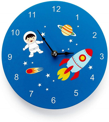 Mousehouse Gifts Kids working wooden wall clock in a Space, Spaceman, Rocket
