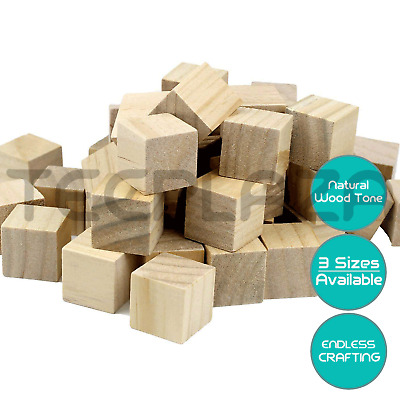 Natural Wooden Craft Blocks Square Cube Block Maths Puzzle Building Stacking Toy