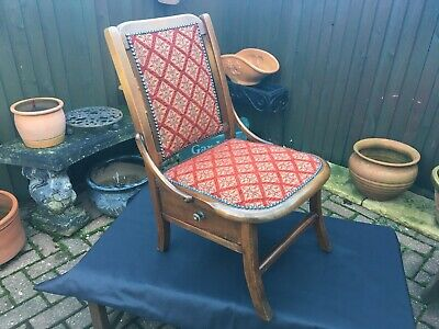 antique 19th century victorian nursing chair with side drawer