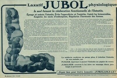 Publicité ancienne pharmaceutique Jubol laxatif physiologqu 1915 issue magazine