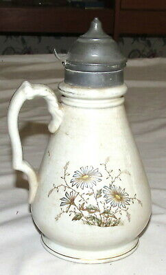 """Ironstone Vintage 7.2/5"""" Pitcher with Pewter Lid"""
