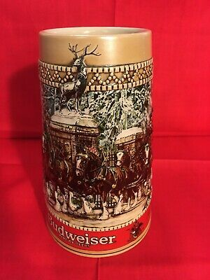 Budweiser Limited Edition C Series Ceramic Christmas Holiday 1987 Stein Beer Mug