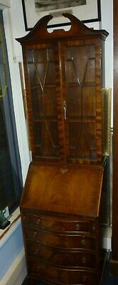 Very Unusual Narrow Vintage Mahogany Bureau Bookcase