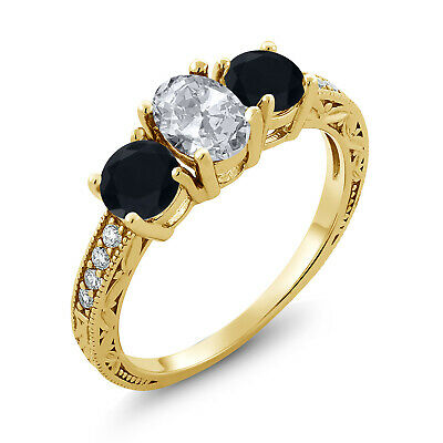 1.99 Ct Oval White Topaz Black Onyx 18K Yellow Gold Plated Silver Ring