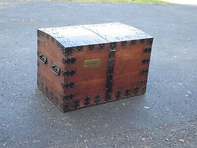 Beautiful Large Antique Oak And Iron Silver Chest / Trunk