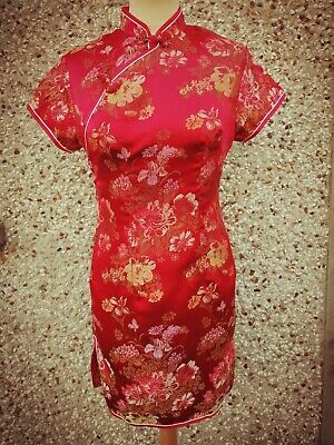 Chinese Oriental Floral Print Dress. Silky Satin Material. SZ. 34 fits UK 6-8.