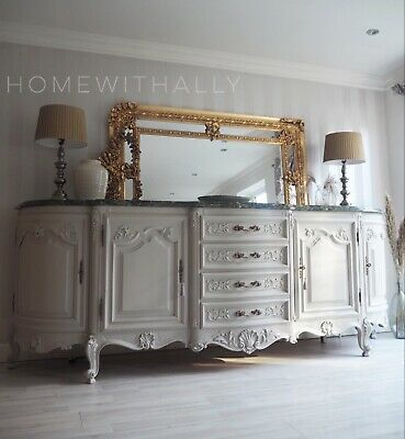 Very Large 2.78m Heavy Ornate French Sideboard Louis Xv In Cream With Marble Top