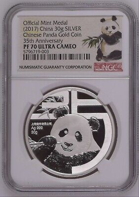 NGC PF70 2017 35th anni Gold panda Coin Issuance 45gram silver panda medal